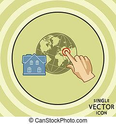plat, couleur, maison, tagging., unique, vecteur, icon., geo