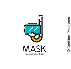 plat, couleur, masque, snorkel, ligne, design., icône