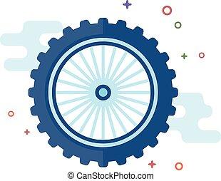 plat, couleur, -, motocyclette, pneu, icône