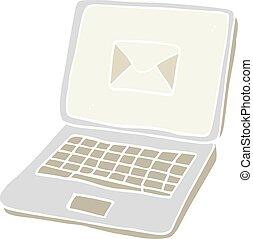 plat, couleur, ordinateur portable, illustration, dessin animé, écran ordinateur, message, symbole