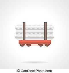plat, couleur, rail, vecteur, flatcar, icône