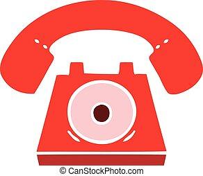 plat, couleur, téléphone, retro, dessin animé, rouges