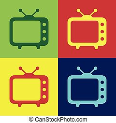 plat, couleur télévision, signe., isolé, illustration, tv, vecteur, backgrounds., icône, design.