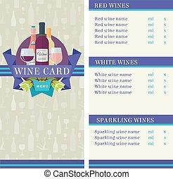plat, couleur, vecteur, conception, gabarit, carte, vin