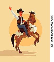 plat, cowboy, rijden, karakter, illustratie, horse., vector, spotprent