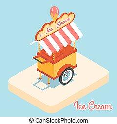 plat, crème, glace, charrette, 3d, icône