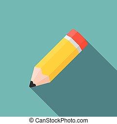 plat, crayon, long, conception, ombre, icône