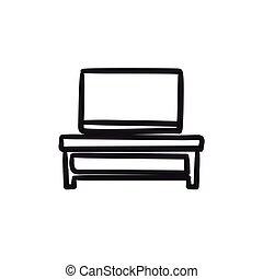 plat, croquis, écran tv, moderne, stand, icon.