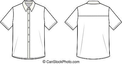 plat, croquis, cylindre court, mode, chemises, gabarit