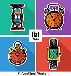 plat, croquis, ensemble, icônes, main, clocks., dessiné