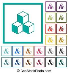 plat, cubes, icônes, couleur, quadrant, cadres