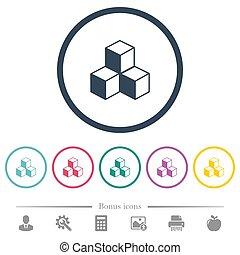 plat, cubes, icônes, couleur, rond, grands traits