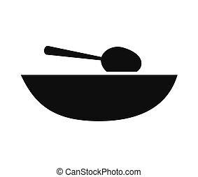 plat, cuillère soupe, icône