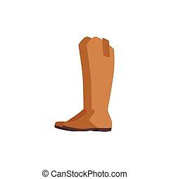 plat, cuir, icône, cavalier, illustration, dessin animé, vecteur, brun, bottes, isolé