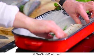 plat, cuisinier, fish, cuisson, met