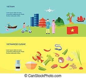 plat, culture vietnamienne, 2, bannières horizontales