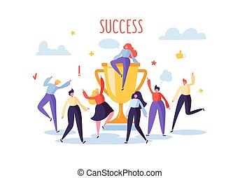 plat, cup., zakelijk, succes, groot, werkmannen , mensen, gouden, illustratie, vieren, vector, karakters, team, prijs, trophy., concept., prestatie, kantoor