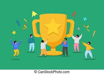 plat, cup., zakelijk, succes, groot, werkmannen , mensen, gouden, vieren, kantoor, karakters, team, prijs, trophy., concept., prestatie