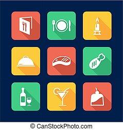 plat, dîner, conception, icônes