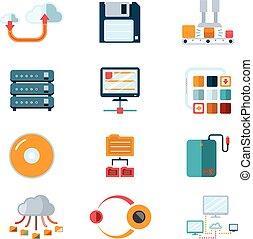 plat, data, iconen
