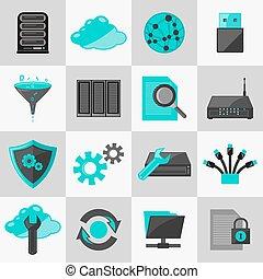 plat, databank, iconen