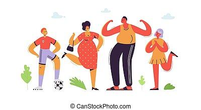 plat, daughter., gezin, vader, zoon, illustratie, cartoons., characters., vector, ouders, moeder, kids., vrolijke
