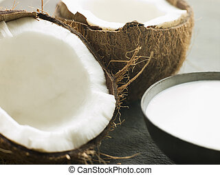 plat, de, lait coco, à, a, fente, frais, noix coco