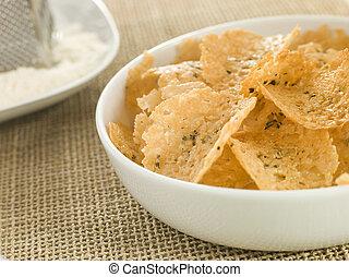plat, de, parmesan, chips