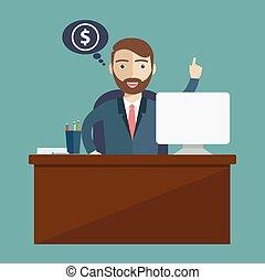 plat, delen, zakelijk, succesvolle , vector, winnen, online, zakenman, investering, illustration.