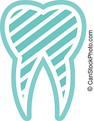 plat, dent, icône, logo, brossé, style.