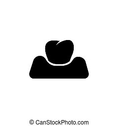 plat, dent, vecteur, periodontitis, gencive, icône