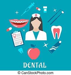 plat, dentaire, concept, art dentaire, icônes