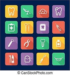 plat, dentiste, conception, icônes
