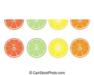 plat, design., blanc, fruit, ensemble, tranches, citrus, fond, isolé