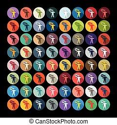 plat, design:, geluk, mensen
