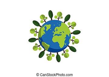 plat, dessin animé, trees.conceptual, vecteur, la terre, conception, style, illustration