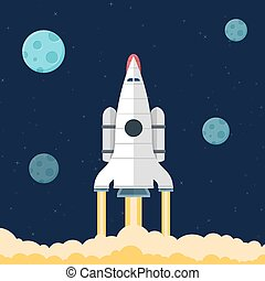 plat, development., fusée, illustration espace, concept, toile