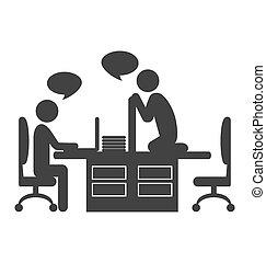 plat, dialogue, employés bureau, café, isolé, coupure, entre...