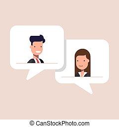 plat, dialogue, femme, parler., business, bavarder, bubble., couleur, femme affaires, theme., illustration, isolé, arrière-plan., concept, parole, homme affaires, homme
