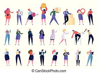 plat, différent, collection, professionnels, isolated., femme affaires, set., travail, caractère, laptop., communauté, créatif, vecteur, divers, illustration, équipe, employé, professionnel, dessin animé, stand