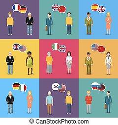 plat, différent, concept, langue, pays, étude, drapeaux, illustration, conception, caractères, parole, bulles, coloré, style
