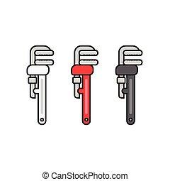 plat, différent, couleurs, clé, plomberie, icône