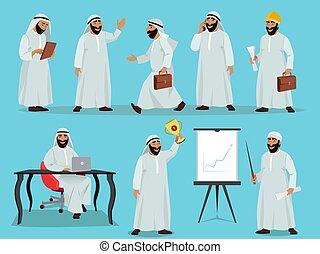 plat, différent, ensemble, caractère, arabe, vecteur, businessman., illustrations, conception, poses, style.