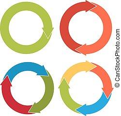plat, différent, ensemble, flèche, coloré, flèches, isolé, numéro 4, circulaire