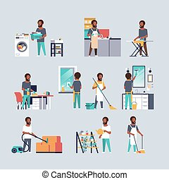 plat, différent, ensemble, hommes, housecleaning, ménage, collection, concepts, américain, entiers, caractères, africaine, longueur, mâle, dessin animé