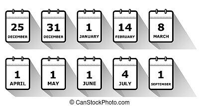 plat, différent, ensemble, icônes, illustration, shaddow, vecteur, noir, blanc, calendrier, vacances, pages, dates, style