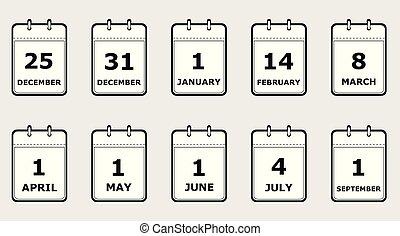 plat, différent, ensemble, icônes, illustration, vecteur, noir, blanc, calendrier, vacances, pages, dates, style