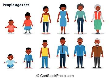 plat, différent, ensemble, monter, gens, gens., africaine, âges, nourrisson, américain, ethnique, vieux, man.