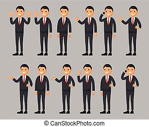 plat, différent, ensemble, policier, caractère, style, illustration, poses., vecteur, dessin animé