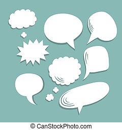 plat, différent, ensemble, vecteur, parole, branché, comique, bulles, style.
